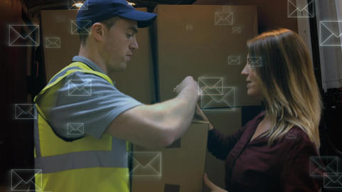 Delivery man delivering a package to a woman and envelopes Animation