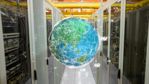 Globe in a hallway of server towers Animation