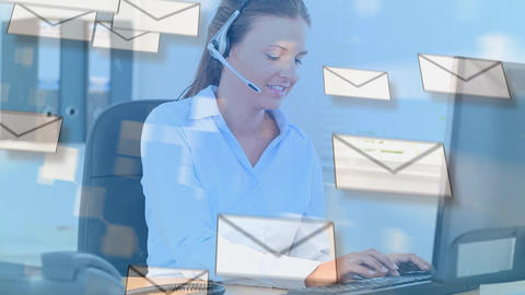 Call centre agent and envelopes Animation