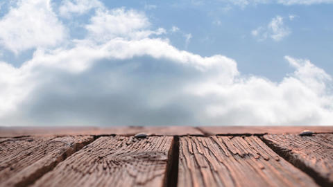 Wooden deck and sky with clouds Animation