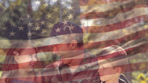 American soldier reunited with children Animation