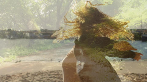 Woman spinning by the beach Animation