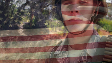 Military man in uniform and the American flag Animation