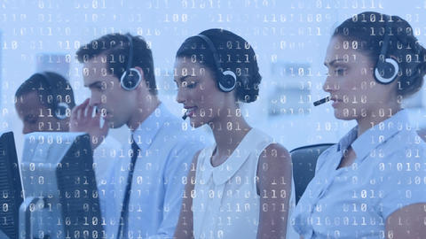 Call centre agents working and binary codes Animation