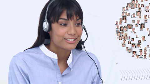 Call centre agent talking to multiple clients Animation