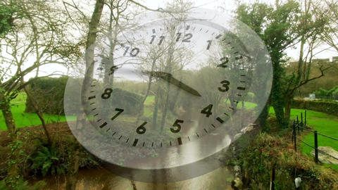 White clock and a park Animation
