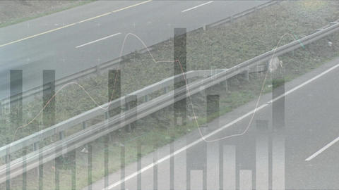 Highway with bar graph Animation