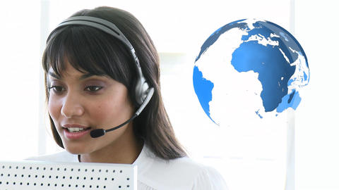 Call centre agent with international customers Animation