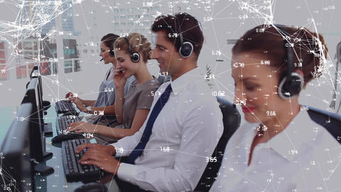 Team of call centre agents Animation