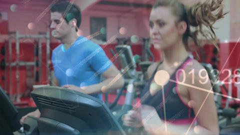 Working out in a gym on treadmill Animation