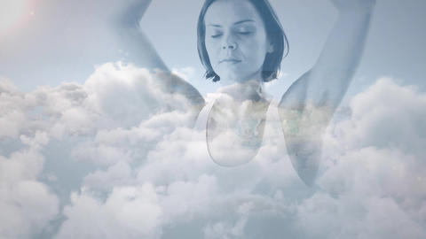 Woman meditating about the sky Animation