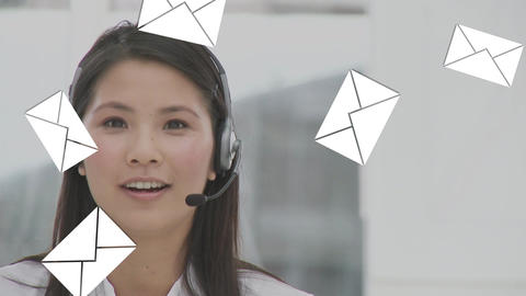 Call centre agent talking on her headset Animation