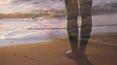Standing barefoot on the beach Animation