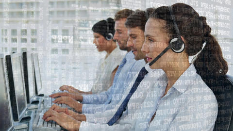 Team of call centre agents talking while typing Animation