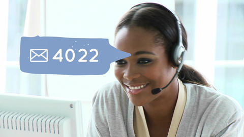 African-american call centre agent and social media Animation