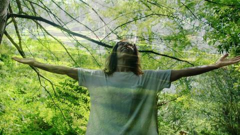 Woman enjoying forest breeze 4k Animation
