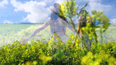 Woman standing in a field of flowers 4k Animation