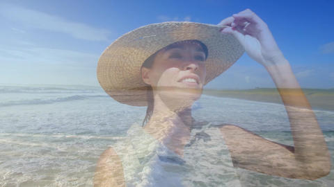Woman wearing a straw hat on the beach 4k Animation