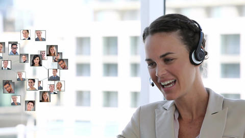 Businesswoman talking to a network of people Animation