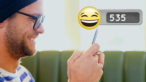 Man laughing while typing on his phone 4k Animation