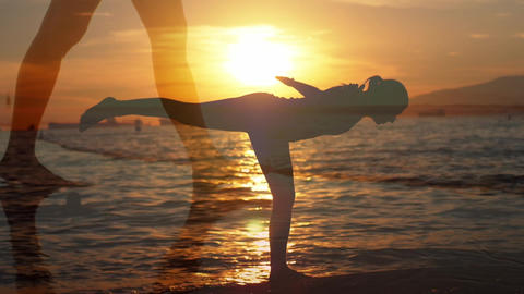 Woman walking on the beach and doing yoga Animation