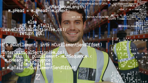 Warehouse worker smiling Animation