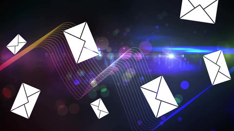 Message icons with colourful threads of light Animation