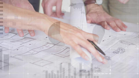 Architects creating building plans 4k Animation