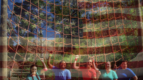 Group of women standing under a cargo net obstacle course Animation