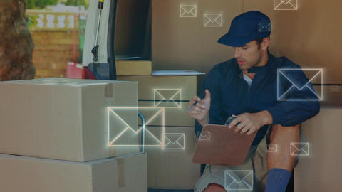 Smiling delivery man counting packages Animation
