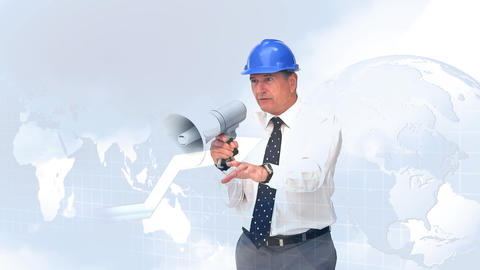 Engineer giving directions using a horn speaker Animation