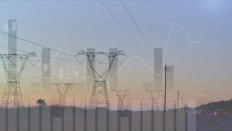 Transmission towers near a highway 4k Animation