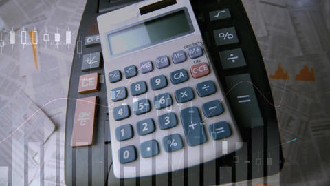 Calculators dropping on a table Animation