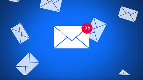 Increasing number of email messages Animation