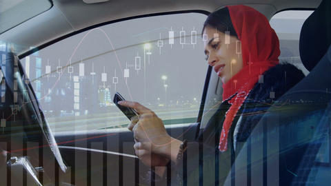 Woman sitting in a car smiling while texting 4k Animation