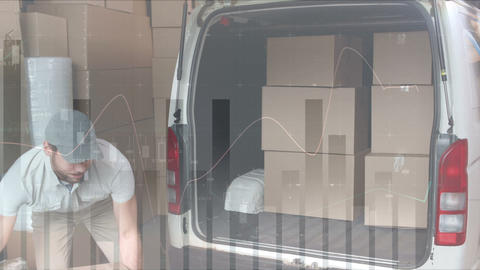 Deliveryman loading packages in to his van 4k Animation