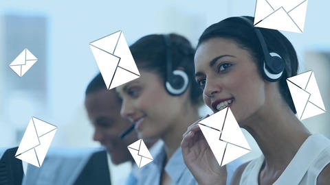 Call centre agents receiving mail Animation