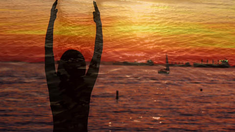 Silhouette of a woman doing yoga near the port Animation