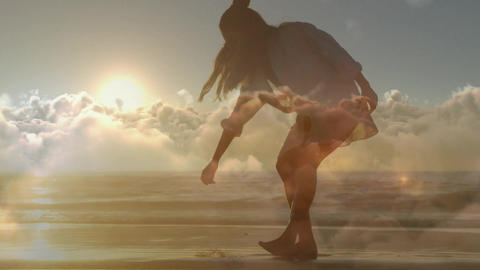 Woman picking up something on the beach 4k Animation