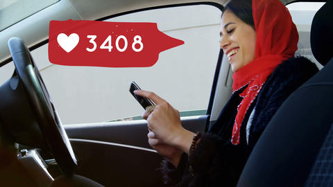 Woman texting while smiling inside a car 4k Animation