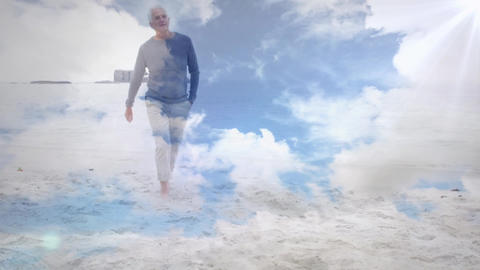 Man walking barefoot on the beach Animation