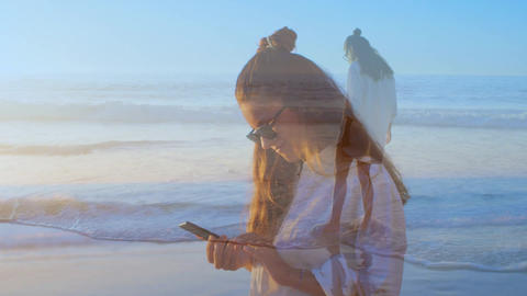 Woman texting on the beach and playing on the shore 4k Animation