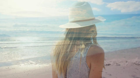 Woman walking at a beach 4k Animation