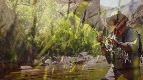 Man fishing on a lake 4k Animation