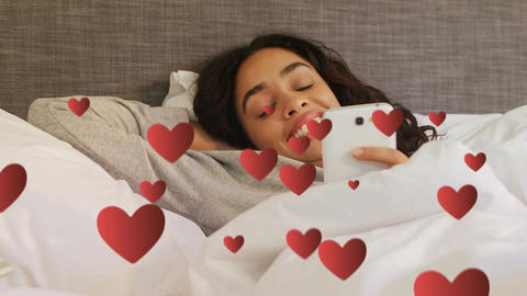 Woman lying in bed texting 4k Animation