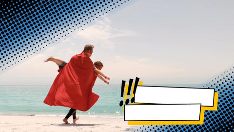 Parent with his child playing superhero by the beach Animation