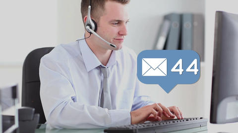 Businessman answering emails Animation