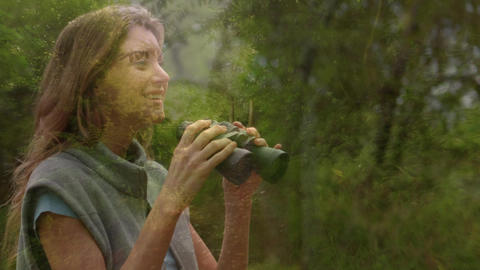Woman observing the forest using binoculars Animation