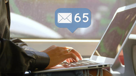 Woman typing on her laptop with message icon 4k Animation