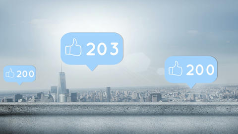 Like icon with increasing numbers and city background 4k Animation